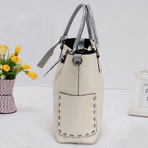 Trendy Stitching Buckle Snake Embossed Tote - OFF-WHITE  Mobile