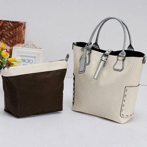 Outfit Stitching Buckle Snake Embossed Tote - OFF-WHITE  Mobile