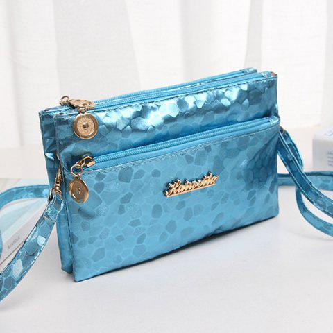 Outfit Stone Pattern Multi Zips PU Leather Clutch Bag