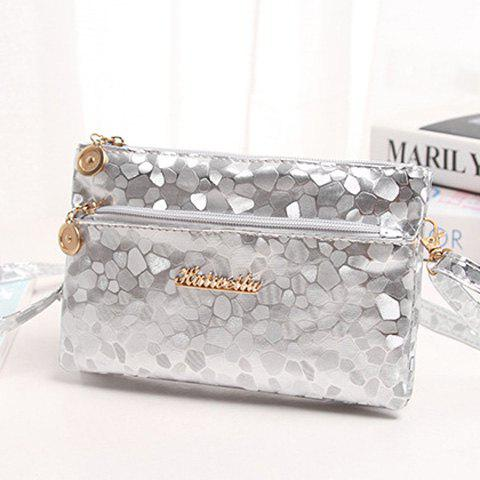Chic Stone Pattern Multi Zips PU Leather Clutch Bag