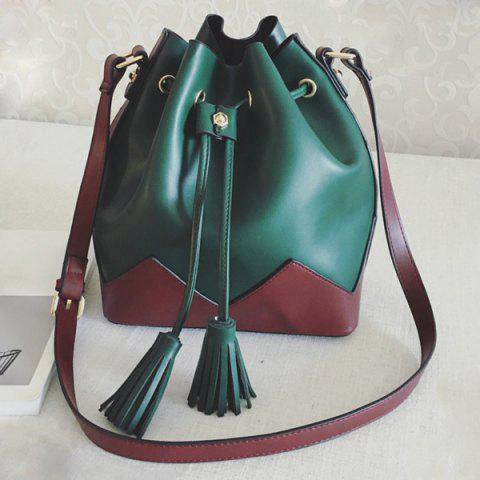 Best Double Tassel Color Block Crossbody Bag