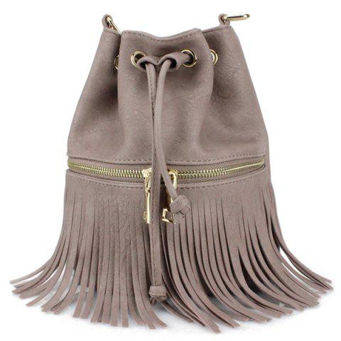Trendy Metallic Zip Fringe Crossbody Drawstring Bag