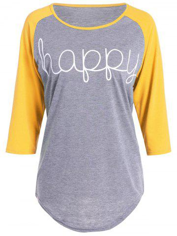Outfit Happy Letters Print Raglan Sleeve T-Shirt - XL YELLOW Mobile