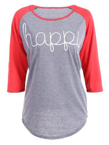 New Happy Letters Print Raglan Sleeve T-Shirt RED M