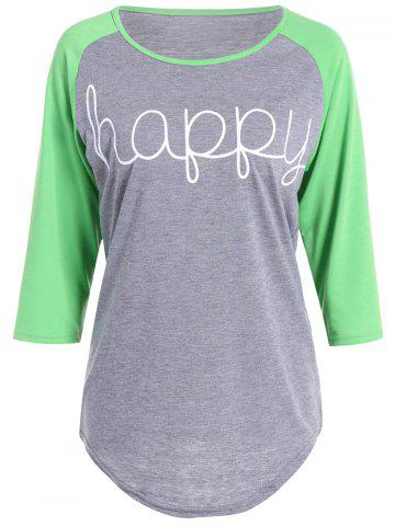 New Happy Letters Print Raglan Sleeve T-Shirt - 3XL GREEN Mobile