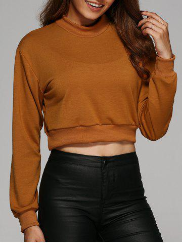 Fancy Round Neck Cropped Sweatshirt EARTHY L