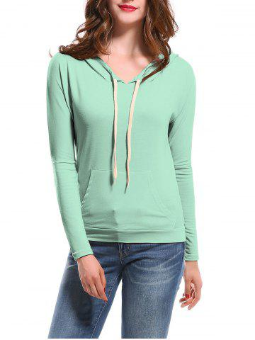 Candy Color Hooded Long Sleeve Hoodie - Light Blue - M