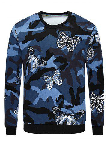 Chic Camo Butterfly Print Long Sleeve Crew Neck Sweatshirt SAPPHIRE BLUE M
