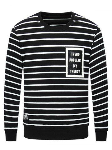 New Crew Neck Letter Printed Striped Sweatshirt