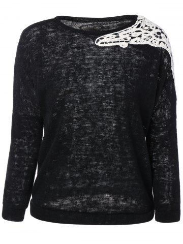 Latest Laciness Splicing Knitwear BLACK XL