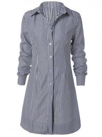 Unique Striped Long Sleeve Button Up Polo Formal Shirt Dress