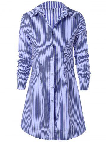 Sale Striped Long Sleeve Button Up Polo Formal Shirt Dress
