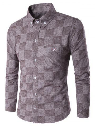Fleece Lined Grid Button-Down Flannel Shirt - Coffee - M