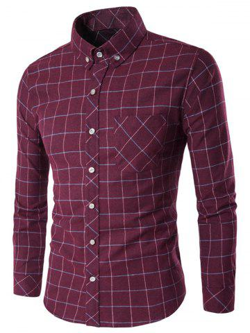 New Long Sleeve Grid Button-Down Shirt WINE RED 2XL