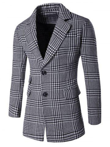 Chic Notch Lapel Flap Pocket Back Vent Houndstooth Tartan Coat GRAY 3XL