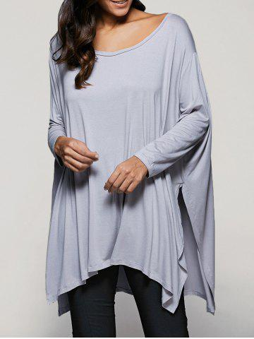 Discount Scoop Neck Batwing Sleeve Side Slit T-Shirt LIGHT GRAY L