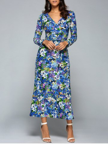 Discount Plunge Neck Long Sleeve Printed Maxi Dress BLUE M