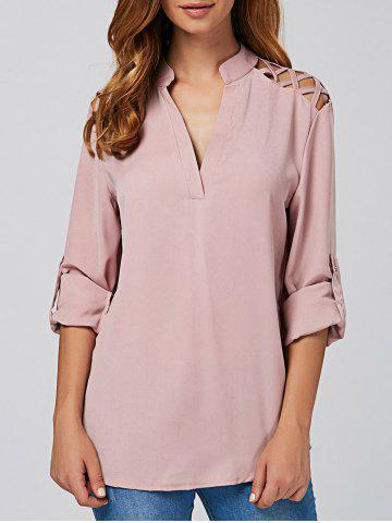 Discount Cut Out V Neck Tunic Blouse