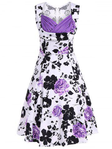 Latest High Waist Sweetheart Neck Floral Print Dress