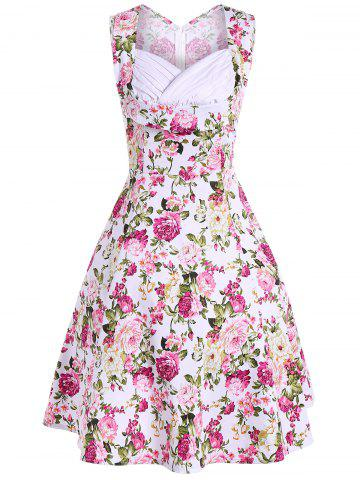 New Retro Style High Waist Floral Print Dress