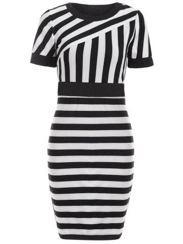 Outfits Striped Color Block Bodycon Dress BLACK 2XL
