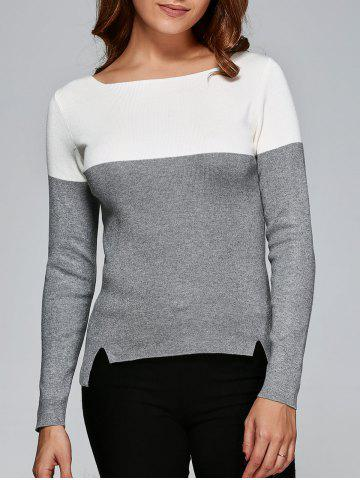 Hot Two Tone High Low Front Slit Knitwear