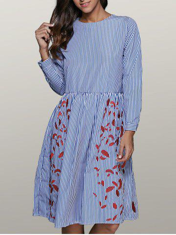 Outfits Round Neck Striped Leaf Embroidered Smock Dress