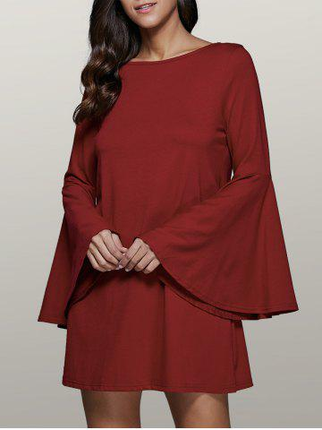 Bell Sleeve Short Tunic Dress - Dark Red - M