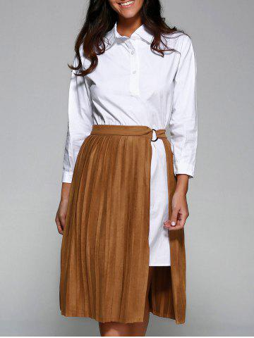 Fancy Shirt Dress With Faux Suede Pleated Skirt