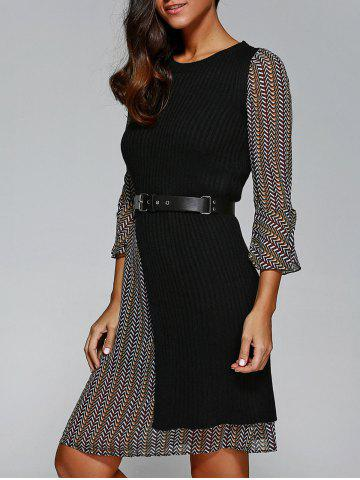 Shop Belted Print Dress with Knitted Vest