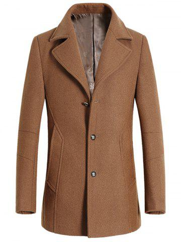 Affordable Turndown Collar Single Breasted Longline Wool Coat CAMEL 3XL