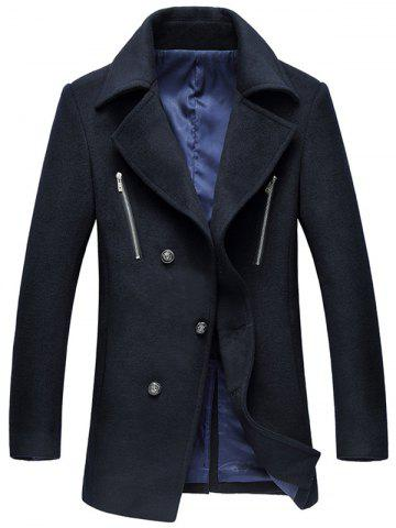 Discount Turn-Down Collar Zipper Embellished Single-Breasted Wool Coat