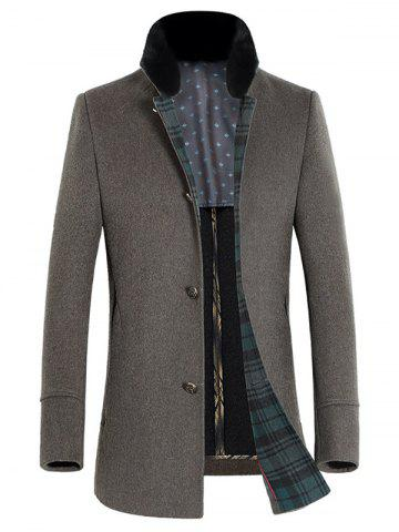 Buy Stand Collar Thicken Single-Breasted Wool Coat