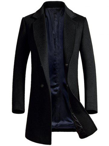 Affordable Lapel Longline Single Breasted Wool Coat BLACK 3XL