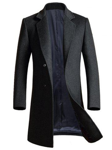 Lapel Longline Single Breasted Wool Coat - Gray - L