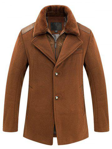 Faux Fur Turn-Down Collar PU-Leather Spliced Single-Breasted Woolen Coat