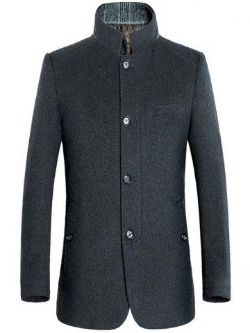 Stand Collar Slimming Single-Breasted Woolen Coat - Gray - M