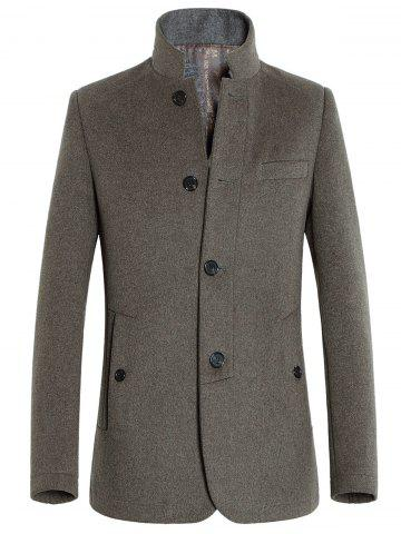 Stand Collar Slimming Single-Breasted Woolen Coat
