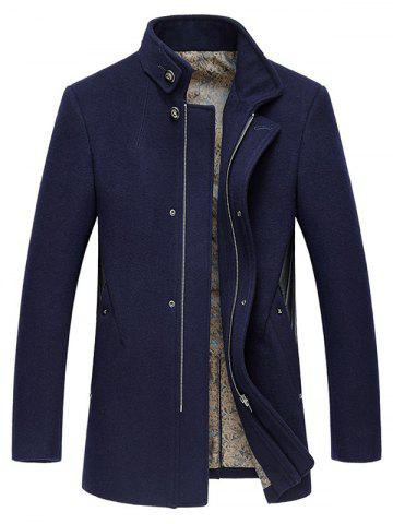 Unique Stand Collar Embroidery Zip-Up Woolen Coat CADETBLUE 3XL