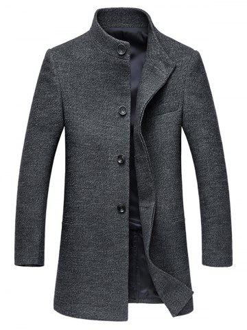 Chic Stand Collar Single-Breasted Back Slit Woolen Coat GRAY 3XL