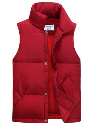 Fancy Casual Stand Collar Thicken Cotton-Padded Waistcoat RED XL