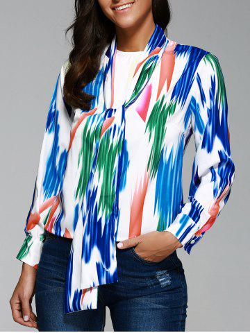 Online Bow Neck Print Front Knot Shirt