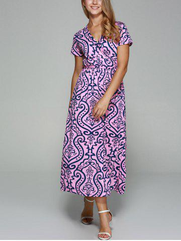 Sale Crossover Collar Short Sleeve Printed Maxi Dress