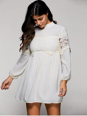 Outfits Lace Trim Long Sleeve Mock Neck Swing Dress APRICOT L