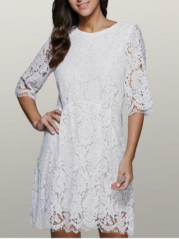 Trendy Three Quarter Sleeve Lace Skater Dress