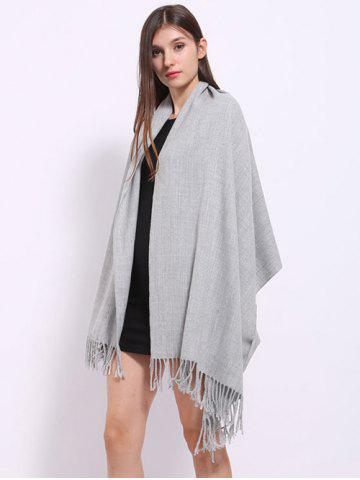 Outfit Casual Faux Cashmere Fringe Scarf - LIGHT GRAY  Mobile