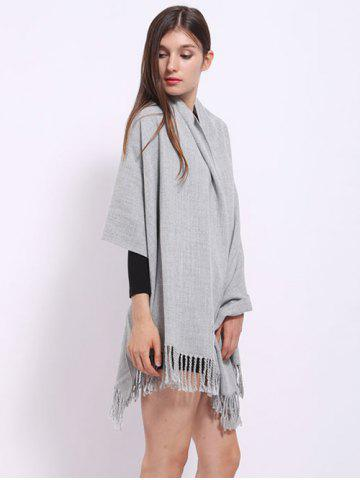 Chic Casual Faux Cashmere Fringe Scarf - LIGHT GRAY  Mobile