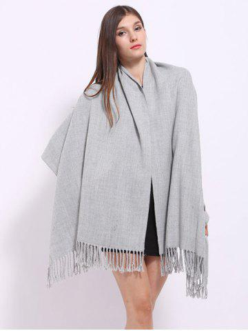 Cheap Casual Faux Cashmere Fringe Scarf - LIGHT GRAY  Mobile