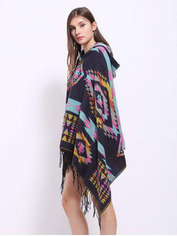 Cheap Winter Ethnic Style Fringe with Hat Poncho - BLACK  Mobile