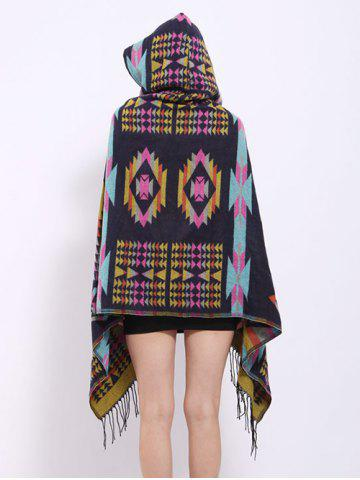 Chic Winter Ethnic Style Fringe with Hat Poncho - BLACK  Mobile